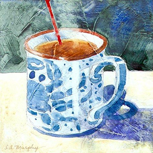 Susan Avis Murphy Blau Crab Tasse, Giclée-Print von Aquarell Stillleben, Tasse Tee oder Kaffee mit EIN Bild Von Einem Maryland blau Krabbe auf der Seite, 15,2x 15,2cm -
