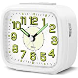 HOPSEM Silent Alarm Clocks Bedside Battery Powered Clocks for Bedrooms Non Ticking Table Clock Luminous Dial and Hands Large