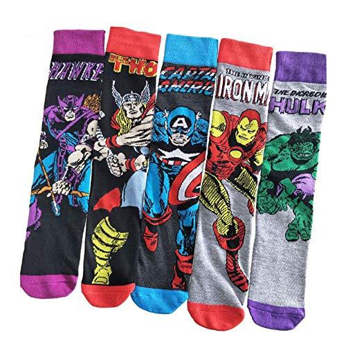 Jintong 5 Paar Erwachsene Superhelden Cool Socken Comic Iron Man Neuheit Cosplay Socken Superman Batman lustig Hulk Batman Geschenke Fußkettchen
