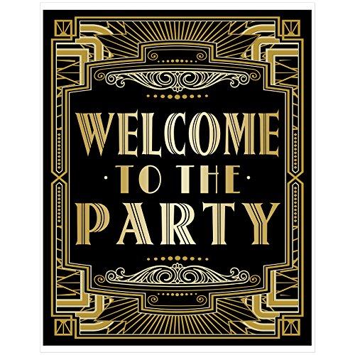 """Musykrafties Party-Poster im Stil von """"Der große Gatsby"""", Schilder, A3, 40,6x 30,5cm Welcome to the Party"""
