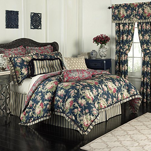 Waverly 14922beddquehtb Sanctuary Rose 4Piece Tröster Set, Heritage Blue, Queen