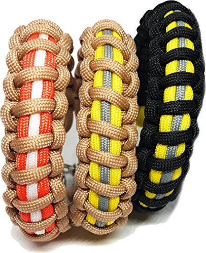 Flashfire Supply Firefighter Paracord Adjustable Survival bracelets Black &  Yellow
