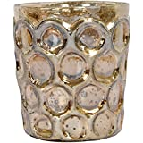 Lighthouse Glass Votive Candle Holder (8 Cm X 8 Cm X 10 Cm, Gold, LH18)