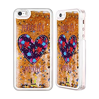 Head Case Designs Floral Heart Patches Gold Liquid Glitter Case Cover for Apple iPhone 5 / 5s / SE