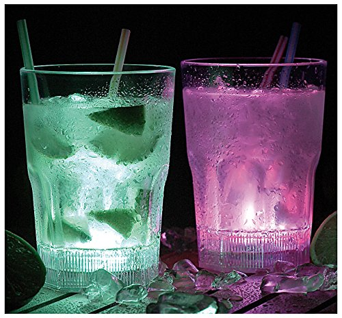 Lunartec Longdrink-Gläser mit LED-Farbwechsler, 2er-Set