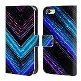Head Case Designs Offizielle PLdesign Blau Und Purpurrot Glitzerndes Metall Brieftasche Handyhülle aus Leder für iPhone 5c