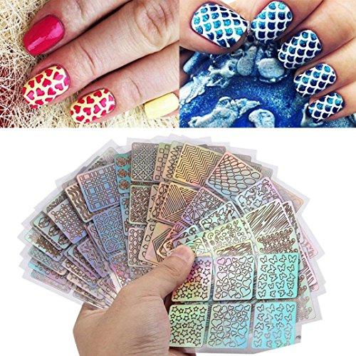 Glitzerpuder Nägel,Hunpta 24 Blatt neue Nagel hohlen unregelmäßige Raster Schablone wiederverwendbar Maniküre Sticker Stamping Schablone Nail Art Werkzeuge