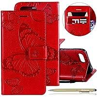 Herbests Leder Handy Schutzhülle für Huawei Honor 10 Lederhülle Schmetterling Muster Leder Handyhülle Handytasche Brieftasche Ledertasche Bookstyle Flip Case Cover Klapphülle,Rot