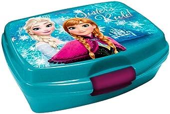 Elsa und Anna Brotbox Grün Lunchbox Frozen Brotzeitdose mit Motiven der Eiskönigin Jausen Box für Mädchen