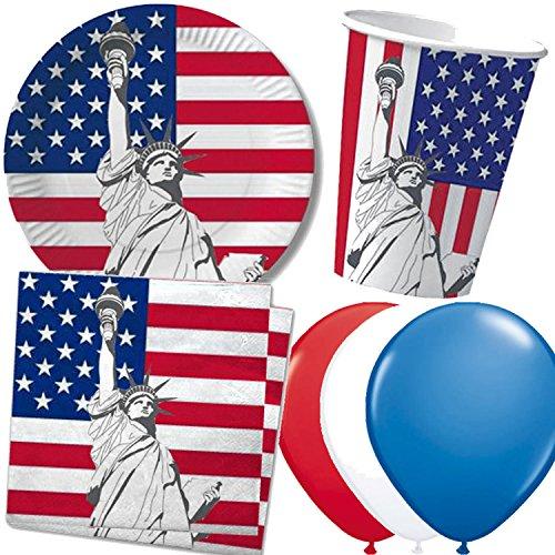 37-tlg. Party-Set * USA / AMERIKA * mit Pappteller + Servietten + Pappbecher + Luftballons für Kindergeburtstag | Teller Becher Geschirr Party Dekoration Kinder Geburtstag Mottoparty Deko
