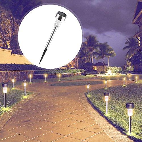 Solarleuchte Garten, AUSHEN warmweiß LED Solarlampe, 10 Stück IP65 wasserdichte energiesparende Aussenleuchten, Edelstahl, ideal für Terrasse, Rasen, Garten und Wege