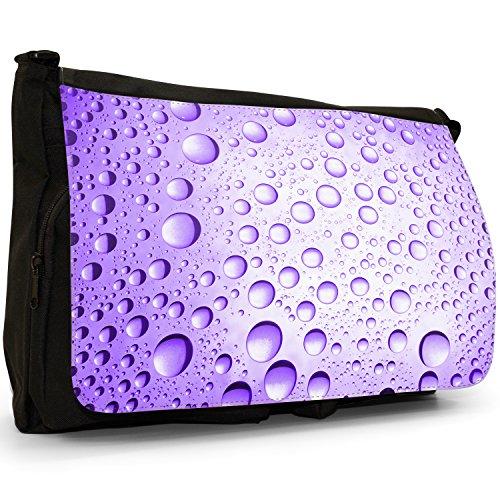 Multicolore a gocce d'acqua, colore: nero, Borsa Messenger-Borsa a tracolla in tela, borsa per Laptop, scuola Nero (Purple Water Droplets)