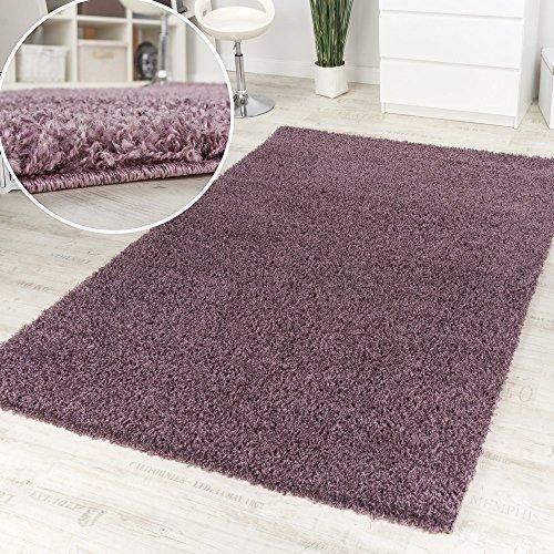Alfombra De Pelo Alto Y Largo En Púrpura Jaspeada En Liquidación, tamaño:160x220 cm