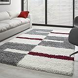 Teppich Hochflor Langflor Wohnzimmer Gala Shaggy Florhöhe 3cm Mehrfarbig - Grau-Weiss-Rot, 100x200 cm