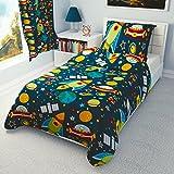 Los niños de funda de edredón y funda de almohada para cuna/cuna cama/cama infantil/cama individual–los Buques de espacio, cohetes, algodón, azul marino, 100x135 cm