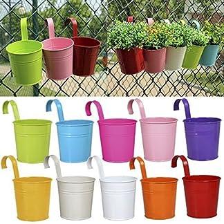 Ogima® Garden Flower Plant Hierro macetas de diferentes colores y tamaño, Handle Flower Pot