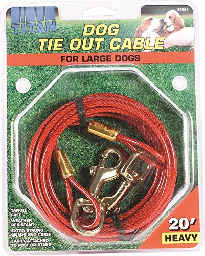 Artikelbild: Titan Heavy 20' Dog Tie Out Cable W/Brass Plated Snaps-Red