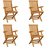 vidaXL 4x Solid Teak Wood Folding Garden Chairs Outdoor Seating Furniture Foldable Wooden Patio Side Seat Kitchen Dining Room