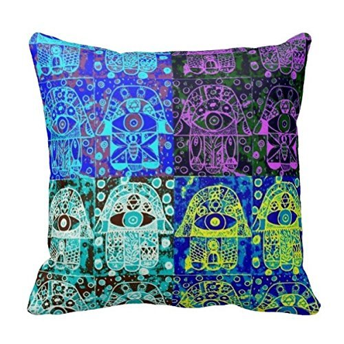 CHKWYN Twin Sides Bedding Pillow Case Home Decoration Square Decorative Cushion Cover Pillowcase Bar Mitzvah Give-A-Way Hamsa Pillowcase Size:16 X 16 Inches / 40 by 40 cm