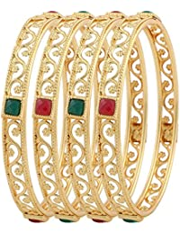 Jewels Galaxy Exclusive Gold Plated Square Shaped Red Green Stone Bangles For Women - Set Of 4