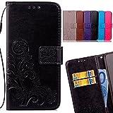 LEMORRY für Xiaomi Redmi Note 4X Hülle Tasche Leder Flip Cover Schutzhülle Schutz Magnetisch Soft Weich Silikon Cover Schale Mit Kreditkarten-Slot, Glücklicher Klee Schwarz