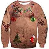 Fanient Uomo Maglione Natale Maglione Brutto di Natale Felpa con Stampa 3D Pullover Natale Maglietta a Manica Lunga per Donna
