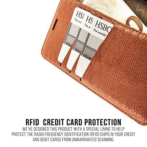 """Apple iPhone 6 Plus / 6S Plus / 7 Plus / 8 Plus (5,5"""") Ledertasche, QIOTTI Folio Leder Wallet Case mit [ RFID Schutz Blocking ] [ Standfunktion ] [ Kreditkarten Fächer ] [ Magnetverschluss ] (ROSA) ORANGE"""