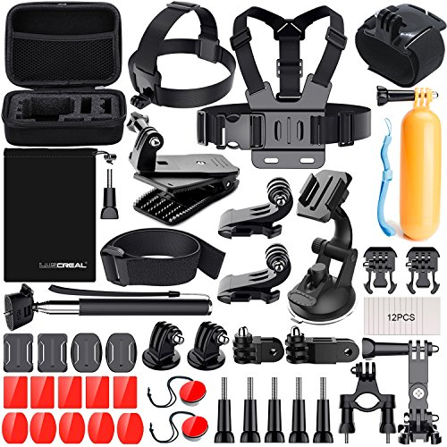 Galleria fotografica Kit Accessori Action Cam, Accessori per Gopro per Go Pro Hero 6 5 4 3 2 1 Hero Session 5 Black AKASO EK7000 Apeman Dpower Xiaomi di LUSCREAL.