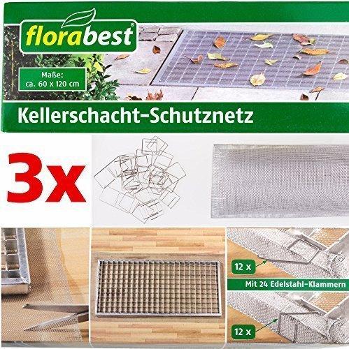 FLORABEST® Kellerschacht-Schutznetz, 60 x 120 cm (3 Stück)