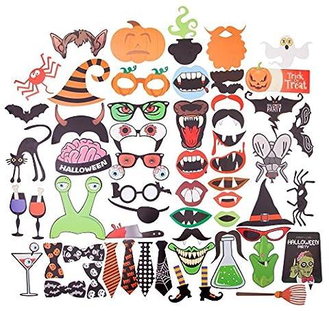Halloween Fotorequisiten Fotoaccessoires , DIKETE 59 Tlg. für lustige Bilder Kürbis Grimasse Spinne Fledermäuse Krawatten (Kostüm Für Halloween Bilder)
