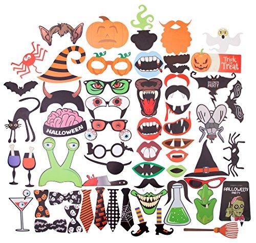 Halloween Fotorequisiten Fotoaccessoires , DIKETE 59 Tlg. für lustige Bilder Kürbis Grimasse Spinne Fledermäuse Krawatten (Kostüm Booth Bild Photo)