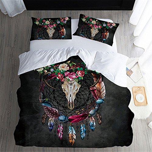 MERRYHE 3D Print Blume Horn Bettwäsche Quilt Fall Setzt 3 Stücke Kissen Shams Kissenbezug Bettbezüge Für Schlafzimmer Kinderbett,AUK220cmX240cm -