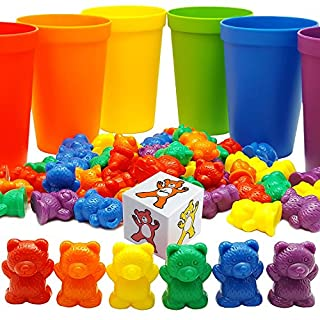 60 Rainbow Counting Bears with Color Matching Sorting Cups Set by Skoolzy- Montessori Toddler Counters & Preschool Math Manipulative Toys for Girls and Boys - Free Activity Guide Download