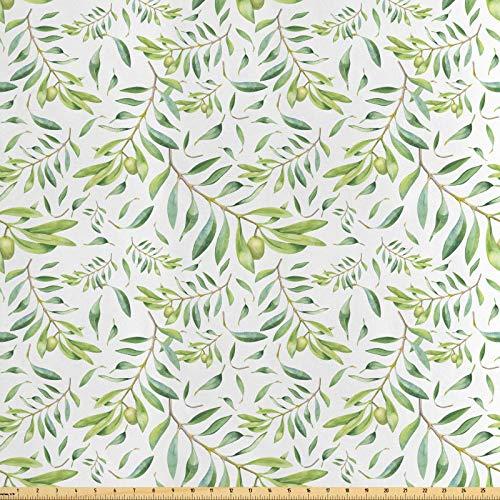 ABAKUHAUS Grünes Blatt Stoff als Meterware, Künstlerischer Olivenbaum, Seidiger Satin Stoff für Polster Heimtextilien, 1M (160x100cm), Avocadogrün Olivengrün Weiß