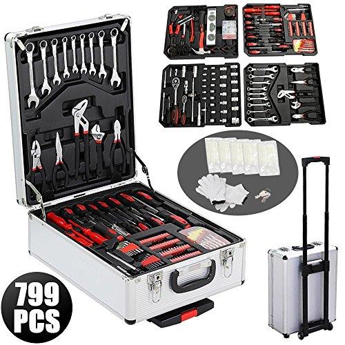 Yahee 799 tlg Werkzeugkoffer Alu Werkzeugkasten Werkzeugbox Werkzeugkiste mit Werkzeug