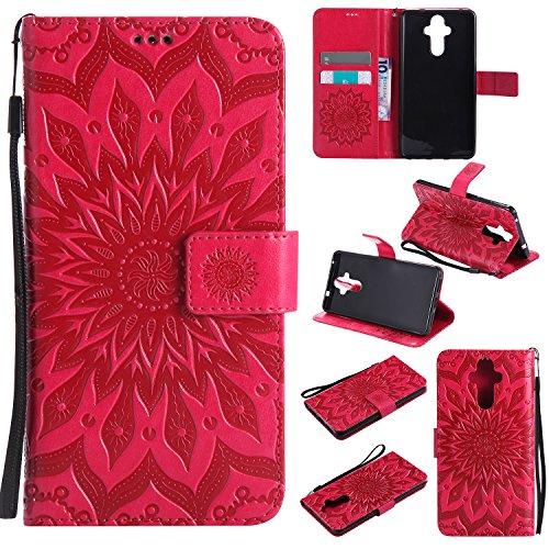 Cozy Hut Huawei Mate 9 Hülle [ Sunflower Muster ] [Premium Leder] [Standfunktion] [Kartenfach] [Magnetverschluss] Schlanke Leder Brieftasche für Huawei Mate 9 - rot Sonnenblume