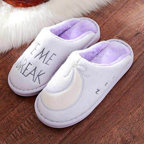 DogHaccd pantofole,Pantofole di cotone femmina spessa soggiorno caldo inverno uomini antiscivolo fondo morbido pantofole inverno autunno e inverno Viola chiaro3
