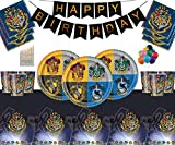 Harry Potter Party Supplies Assiettes en Papier Tasses Serviettes Nappe Joyeux Anniversaire Ballon-sans Ballon Pack-Sert 16 Personnes