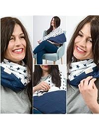 """L'écharpe-tube d'allaitement """"Blue Star"""" avec petites poches pour coussinetsd'allaitement. L-XL"""