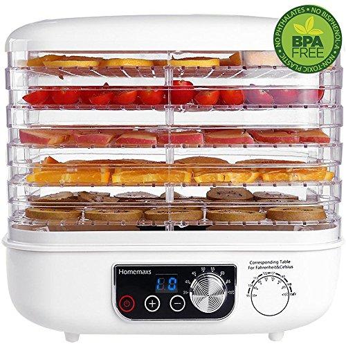 Homemaxs Elektrischer Dörrautomat mit 5 höhenverstellbaren stapelbaren Einsätzen, digitalem Thermostat und Timer, geräuschlos und BPA-frei, Weiß