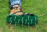 Kitclan 4 Riemen Rasenlüfter Schuhe, Rasenbelüfter Sandalen 5 cm lange Bodennägeln für Haus und Garten (1 Paar ) grün - 9