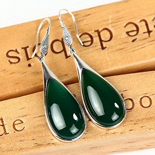 Penao orecchini in argento 925, agata verde naturale della signora acqua tipo goccia orecchini