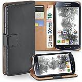 moex Samsung Galaxy S4 Mini | Hülle Dunkel-Grau mit Karten-Fach 360° Book Klapp-Hülle Handytasche Kunst-Leder Handyhülle für Samsung Galaxy S4 Mini Case Flip Cover Schutzhülle Tasche