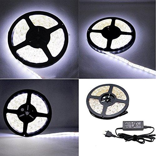 5M SMD 5050 Banda Strisce LED (300PCS SMD) Luce Impermeabile Flessibile Adattatore Incluso (Bianco) - PL705A+EU