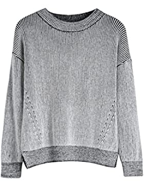 Vogueearth Fashion Hot Mujer's Ladies Crew Neck Striped Knit Jumper Jersey Sudaderas Suéter Pull-over Pullover...