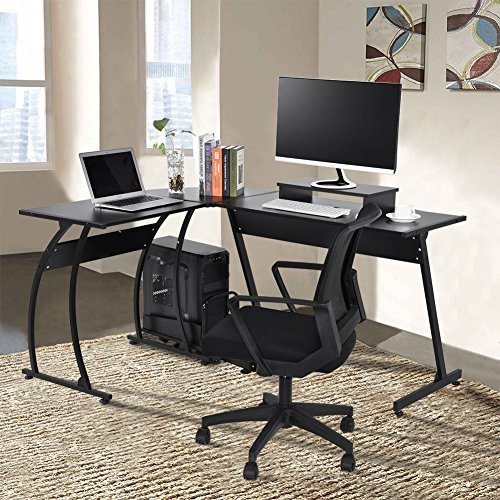 Pleasing L Shaped Office Computer Desk Large Corner Pc Table Laptop Workstation With Mobile Computer Stand And Computer Host Bracket Rattan Furniture Shop Home Interior And Landscaping Palasignezvosmurscom