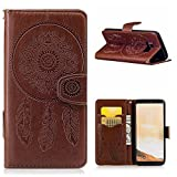 Galaxy S8 Case, CHIHENG [Wind Chimes] Embossing PU Leather Magnetic Flip Cards Slot Wallet TPU Inner Stand Protective Cover Case for Samsung Galaxy S8 Brown
