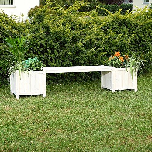 2 Blumenkästen mit Gartenbank in Weiß Holz Garten Bank Blumenkasten Holzbank - 2