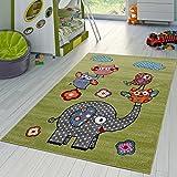 Tappeto da gioco, motivo: zoo con animali vari, gufi, elefanti, a pelo corto, verde grigio fucsia, 120 x 170 cm