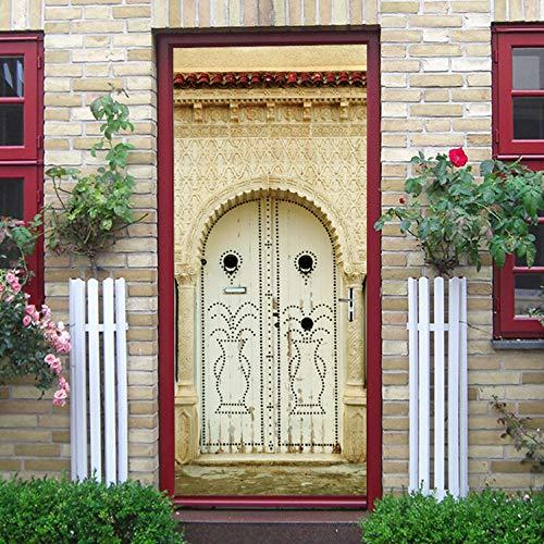ige Elfenbein Gebäude Tür Wandtüren Aufkleber 3D Kreative Tür Aufkleber Schlafzimmer Türen Renovierung wasserdichte Aufkleber Poster 90X200 cm ()